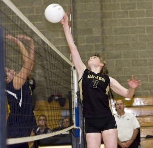 Hawks setter Jess Patrizi is at the center of almost every point.