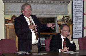 """NEDC CEO Dave Pendergast speaks at Monday night's forum. Joe Connolly (right), marketing officer for St. Mary's, said a new facility at Parcel C would e """"advantageous to the community."""""""