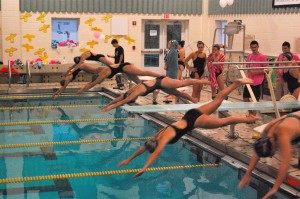 Woodland and Naugatuck swimmers plunge into the pool at the start of the 200-yard freestyle Friday. The Hawks' Katie-Jean Hinckley won the event in 2:09.34.