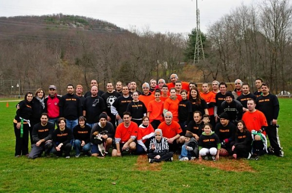 Everybody played on Nick's Team last Thursday in a flag football game that raised money for Beacon Falls resident Nick Lucas (referee shirt), who has leukemia.