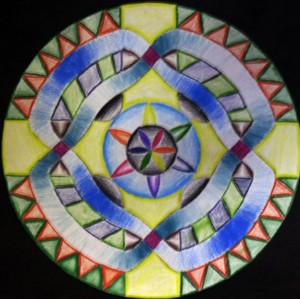 Students crafted their own Mandalas on paper; in one branch of Buddhism, they are painstakingly sandpainted.