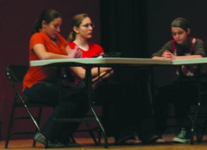 """Juror 8 (Stefanie Cagno, far left) was the lone vote of """"not guilty"""" early on in last weekend's production. By the play's end, she had convinced the rest of the jury that there was, indeed, cause for reasonable doubt."""
