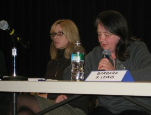Board Chairwoman Kathleen Donovan, left, and Vice Chairwoman Barabara Lewis said a subcommittee may have found a way to close the school board's budget gap without closing a school.