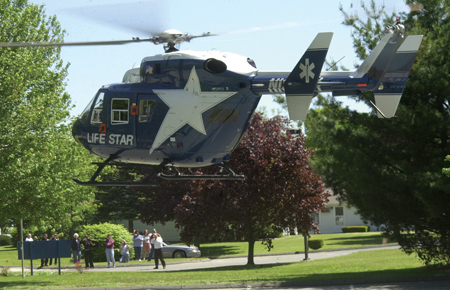 A LifeStar chopper made an educational—not emergency—landing at Beacon Brook Health Center in Naugatuck last Thursday, a fun diversion for spectators of any age, including CN's columnist.
