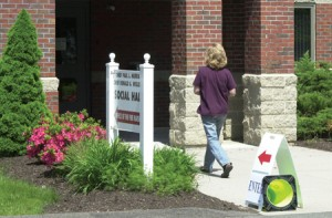 A voter enters the Prospect Firehouse during Tuesday's Region 16 school budget referendum. Prospect carried the budget to passage, counteracting Beacon Falls' rejection.