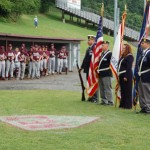 A color guard from the Naugatuck American Legion, Post 17 helped honor the late Franklin Johnson, Sr. before the season opener between the Prospect-Beacon Falls and Naugatuck American Legion baseball squads.