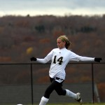 Stephanie Dumond scored the other two goals of the match for Woodland against Enfield. The Hawks next will face third-seeded Joel Barlow in the second round of the Class M state tournament. The match was scheduled for Thursday, Nov. 11.