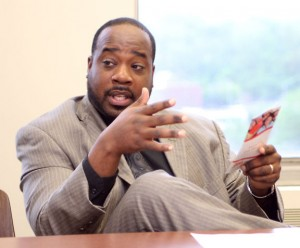Marcus Stallworth, a licensed social worker in the foster and adoptive unit, talks about the need for more foster homes in Naugatuck during a a meeting with the Naugatuck Social Service Network May 19.