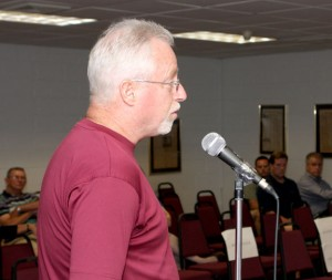 Save Prospect President Tim Reilly asks the Prospect Town Council for money to offset his group's legal fees at a council meeting June 7. He later rescinded his request.