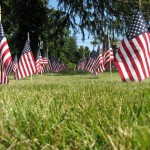 American flags lined the ground Sunday during a remembrance ceremony in honor of the 10th anniversary of the Sept. 11, 2001 attacks. Each flag represents 10 victims of the attacks.