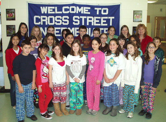 Cross Street students don pajamas to give back
