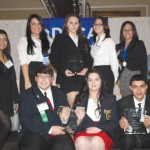Naugatuck High School DECA students took home some hardware at the Connecticut DECA Career Development Competition Feb. 29 at the Aqua Turf Club in Southington. Pictured, first row, from left students Mason Cabanas, Chelsea Maza and Muad Hrezi. Back row, from left, students Gabrielle Wilson, Samantha Medrek, Danielle Matos, Isabella Verrilli, Pollyanna Paiva Silva and Georgette Nixon. -CONTRIBUTED