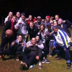 Sean Cummings and his kickball team celebrate after winning the playoffs recently. Cummings is organizing a game to break the Guinness World Record for the longest kickball game March 30 to April 1 at Linden Park in Naugatuck to raise money for children's cancer research. -CONTRIBUTED