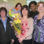Naugatuck Savings Bank recently awarded their quarterly customer service commendation to operations representative Engie Hasku. The SARF Award (Safety & Security, Accuracy, Responsiveness and Friendly, Personalized Service) is given every quarter to an employee who best represents the bank's culture of giving customers the service and dedication they deserve. Hasku, a Cheshire resident, has worked for Naugatuck Savings Bank for 7 years. Pictured: Naugatuck Savings Bank operations representative Engie Hasku, center, was recently awarded Naugatuck Savings Bank's SARF Award. Pictured with Hasku, from left, Patti Delage, Kathy LaGrave, Jessica Corey, and Ann Hofmann. –CONTRIBUTED