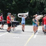 Naugatuck High School's marching band practices for the annual Thunder in the Valley competition last week at the high school. Marching bands from 10 high schools in the state will compete Sept. 22 in Naugatuck.-LUKE MARSHALL