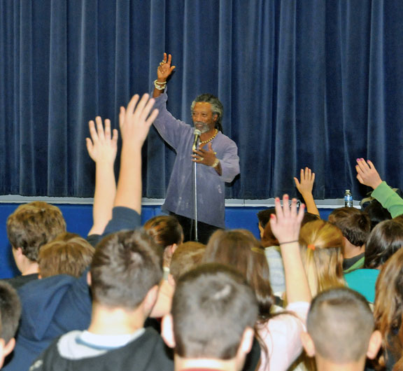 Storyteller spins tales for students