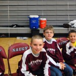Maple Hill Elementary School students Jacob Blair, Elijah Borunda, Brayden Alves, Hudson Bombery and Michael Fortunato won a drawing to sit courtside with the Greyhounds Jan. 25. –KEN MORSE