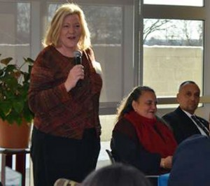State Rep. Theresa Conroy (D-105) speaks at the Naugatuck Valley Community College legislative breakfast Jan. 18. –CONTRIBUTED