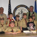 On Jan. 14, Cub Scouts from Dens 3 and 9 of Prospect Pack 27 visited Mayor Robert Chatfield and learned all what Prospect is about and also how Town Hall functions. Pictured, back row, Jenna Cavallo, Zachary Telesca, Den Leader Anthony Santovasi, AJ Marchant, Tommy Rife, Michael Jankowsky, Sam Lanouette, Mayor Robert Chatfield, Aidan Woodsworth and Nicholas Santovasi. Front row, Josh Morrone, Robby Cavallo, and Joseph DeDomenico. –CONTRIBUTED