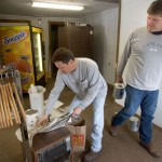 Borough employees Mike Caron, left, and Chris Jones work on renovations in the pro shop at Hop Brook Golf Course in Naugatuck Tuesday. –RA ARCHIVE