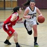 Angelina Piccirillo (10) led Naugatuck with 11 points as the Greyhounds fell to Norwich Free Academy, 62-35, in the opening round of the Class LL state tournament Tuesday. -FILE PHOTO