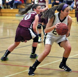 Andrea Piccolo (22) led Woodland with 8 points as the Hawks fell to Plainfield, 58-30, in the opening round of the Class M state tournament Tuesday. -FILE PHOTO