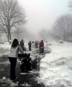 Residents of Tudor Lane in Naugatuck came together Monday morning to clear their street. –CONTRIBUTED