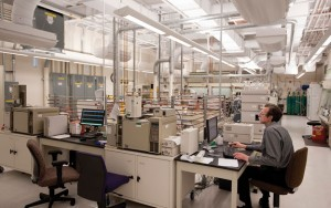 Dr. Colin Moore works in one of the newly renovated labs at the Chemtura Corporation facility in Naugatuck. –RA ARCHIVE