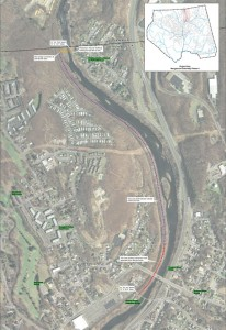 This map shows the proposed route of Phase II of a pedestrian greenway that would extend north along the Naugatuck River towards Waterbury. -CONTRIBUTED