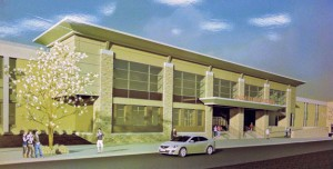 This drawing, displayed at a meeting March 7 on the phasing plan for the Naugatuck High School renovation project, shows how the front of the school will look after the project. –LUKE MARSHALL