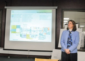 Lorel Purcell, a preconstruction manager for O&G Industries, details the phasing plan for the Naugatuck High School renovation project and how it will impact students March 7 at the school. –LUKE MARSHALL