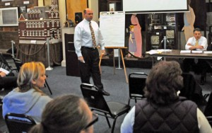 Blum, Shapiro, & Co. partner Jeffrey Ziplow, standing, talks with Naugatuck residents during a public forum March 21. The forum was to gather opinions from the residents as the company puts together a strategic plan for the borough. -LUKE MARSHALL