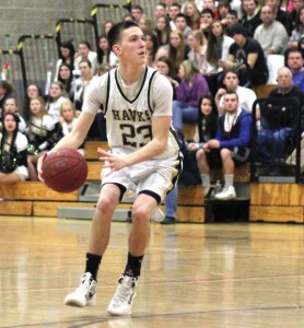 Woodland's Tanner Kingsley led the Hawks with 24 points Saturday in an 88-76 loss to Weaver in the second round of the Class S state tournament. –FILE PHOTO