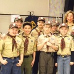 Webelo II from Pack 27 of Prospect crossed over to Boy Scouts at a Blue and Gold Ceremony on March 17. Pictured, front row from left, Collin Lacey, Luciano D'Amelio, Bailey Williams, Ethan Ligi and Brandon McClusker. Back row from left, James Champagne, Jonathan Tanguay, Joshua Thompson, Ethan Carlone, Zachary Bertrand, and Mary Beth Knobel. –CONTRIBUTED