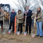 The Hidden Acres Therapeutic Riding Center in Naugatuck held a groundbreaking ceremony Monday afternoon to celebrate the beginning of construction of an indoor riding arena. Pictured, from left, Mayoral Aide Ed Carter, Michelle Simons, Manly Simons, Althea Simons, Mayor Robert Mezzo, Mary Simons, Theron Simons, and Robin Stevens in the rear with horse Charmer. –LUKE MARSHALL