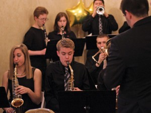 Members of the Naugatuck High School jazz band perform during the United Way of Naugatuck and Beacon Falls annual meeting April 11 at the Crystal Room in Naugatuck. –ELIO GUGLIOTTI