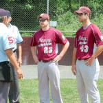 Naugatuck Junior American Legion Post 17 assistant coach Matt D'Agnone (23) and head coach Zac Dreher (43) led the team to a 20-2 record and won the Zone 5 title this past season. The team lost in the state tournament July 31. –KEN MORSE