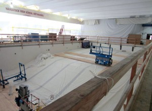 Renovations to the Naugatuck High School pool are expected to be complete by January. Heavy-duty work is being done over the summer on the major overhaul of the school while students are out of the building. –RA ARCHIVE