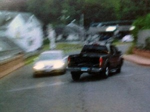 Naugatuck police released this photo, taken by a witness, of the pickup truck a suspect in a purse snatching sped away in Monday night. –CONTRIBUTED