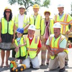 U.S. Congresswoman Rosa DeLauro visited the construction site where the new water main will begin at the driveway of Algonquin School in Prospect Monday afternoon. Pictured front row from left, Zach Latozas, grandson of Mayor Robert Chatfield, Chatfield and Pat Corbett of the Connecticut Water Company. Back row from left, Algonquin School Principal Rima McGeehan, Region 16 Superintendent of Schools Tim James, School Building Committee Chairman and Prospect Town Council member Stanley Pilat, DeLauro and Jim Casagrandi of the Connecticut Water Company. –ELIO GUGLIOTTI
