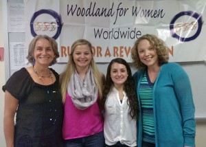 Woodland Worldwide recently awarded its annual leadership scholarships to Woodland Regional High School juniors Kayla Rafferty and Nikki Cina. Pictured, from left, are Woodland Worldwide co-advisor Lisa Olivere, Rafferty, Cina and Woodland Worldwide co-advisor Meghan Hatch. –KYLE BRENNAN