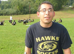Woodland Regional High School graduate Nick Oliveira has overcome cerebral palsy to earn his soccer coaching certification. He is on the staff with the Hawks this season as a volunteer assistant. –RA ARCHIVE