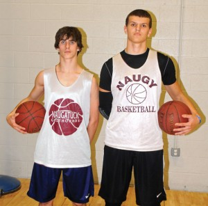 Naugatuck boys basketball captains junior Jason Bradley, left, and senior Ryne Griesenauer will lead the Greyhounds on the court this season. –LUKE MARSHALL