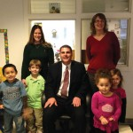 Children from Naugatuck Day Care pose for a picture with, from left, Naugatuck Day Care board member Lorianne Adamaitis, Mayor Robert Mezzo and board member Nancy Clarke following a recent Thanksgiving feast. –CONTRIBUTED