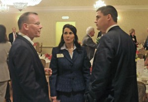 Naugatuck Mayor Robert Mezzo, right, recipient of the 2014 Lewis A. Dibble Award talks with Kevin DelGobbo, senior advisor to the mayor of Waterbury, left, and Lynn Ward, president of the Waterbury Regional Chamber of Commerce during the 92nd Annual Meeting and Lewis A. Dibble Award dinner Jan. 15 at The Crystal Room in Naugatuck. –LUKE MARSHALL