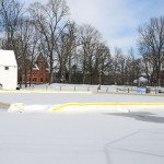 A portable ice skating rink at the St. Francis Field on Church Street in Naugatuck will open Saturday. –LUKE MARSHALL