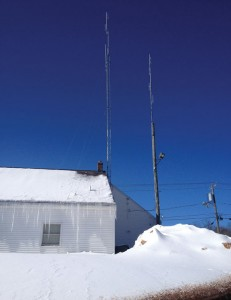 A new 75-foot radio tower with antenna, left, at the Prospect Police Department has allowed for better reception and enhanced communications for police portable radios. –RA ARCHIVE