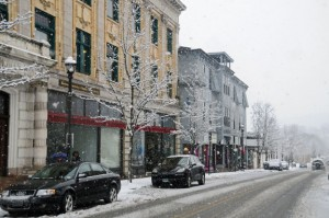 Snow falls on downtown Naugatuck Feb. 3. This winter has been particularly tough on the sand and salt budgets of municipalities. –LUKE MARSHALL