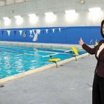 Naugatuck YMCA CEO Susan Talbot shows off the newly renovated pool at the YMCA Jan. 27. The work is part of a larger $850,000 renovation project. –LUKE MARSHALL