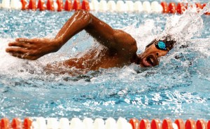 Naugatuck's Omari Solomon swims the 200 yard freestyle Feb. 19 during a meet against Watertown. Solomon is expected to swim the 200 free and 100 backstroke at the NVL meet. –RA ARCHIVE